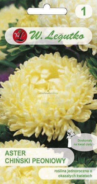 Aster chiński peoniowy - żółty (1 g)