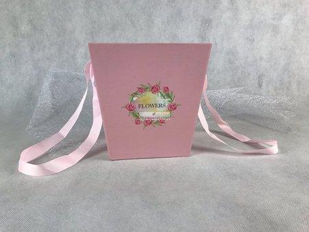 Papierowa doniczka - różowa (17 x 13 x 17 cm)